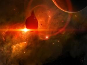 Planetas iluminados por una luz rojiza