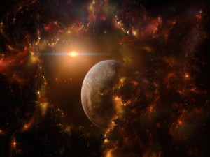 Potente luz en el espacio
