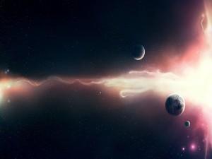 Estela de luz junto a unos planetas