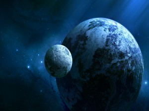 Luna orbitando alrededor de un planeta