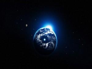 Fuerte luz iluminando la Tierra