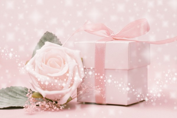 Rosa junto a una caja de regalo con cinta rosa