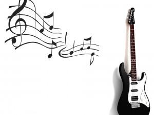 Postal: Guitarra y notas musicales