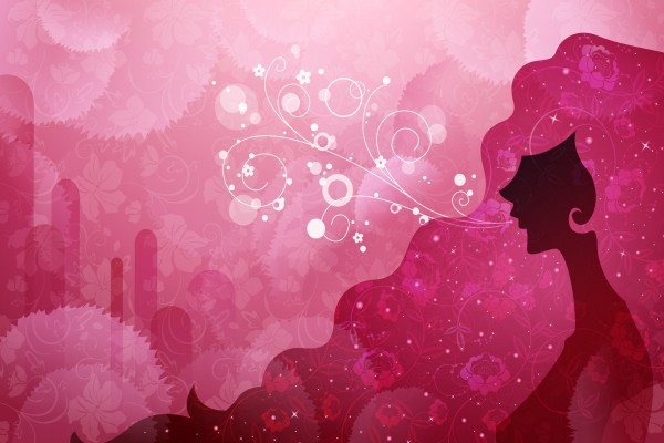 Mujer en una naturaleza rosa