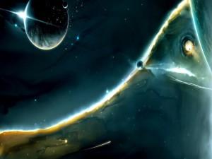 Planetas y meteoros en el espacio