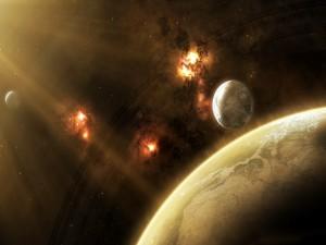 Rayos de sol iluminando unos planetas