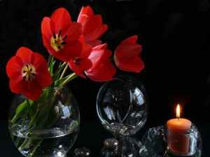 Tulipanes rojos en un recipiente de vidrio junto a una vela encendida