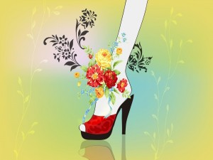 Flores sobre el pie de una mujer