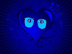 Ojos en un corazón azul