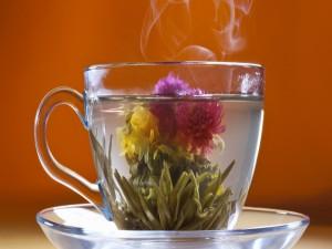 Flor y té verde infusionando en una taza