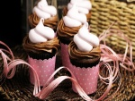 Unos bonitos cupcakes con chocolate y merengue