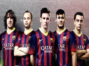 Cinco jugadores del Fútbol Club Barcelona