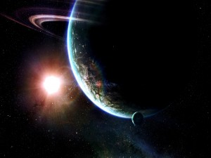Potente luz en el espacio iluminando a un gran planeta