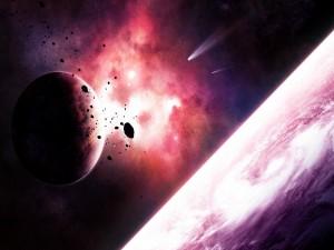 Meteoros aproximándose a un planeta