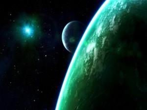 Estrella brillando frente a unos planetas