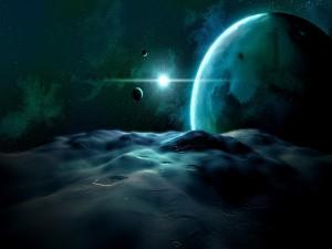Estrella vista desde la superficie de un planeta