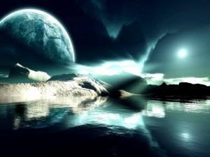 Potente luz iluminando el agua de un planeta