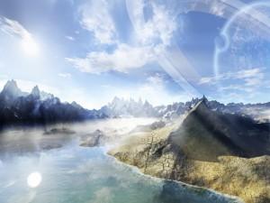 Montañas y agua en un planeta