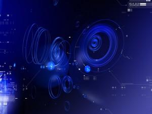 Cifras y círculos en un fondo azul
