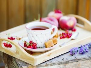 Bandeja con té y frutas