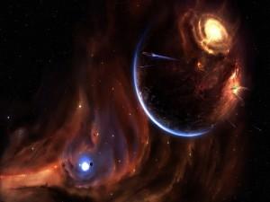 Naves espaciales abandonando un planeta
