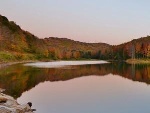 La tranquilidad de un lago en otoño