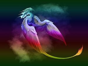 Dragón de colores en el cielo