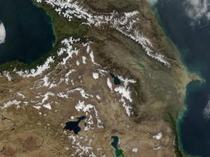 Vista satélite del Cáucaso