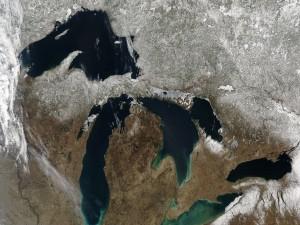 Vista satélite de los Grandes Lagos