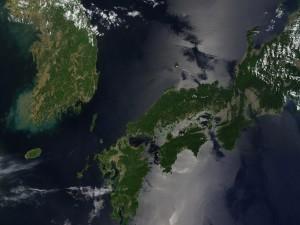 Vista por satélite de Corea del Sur y una zona de Japón