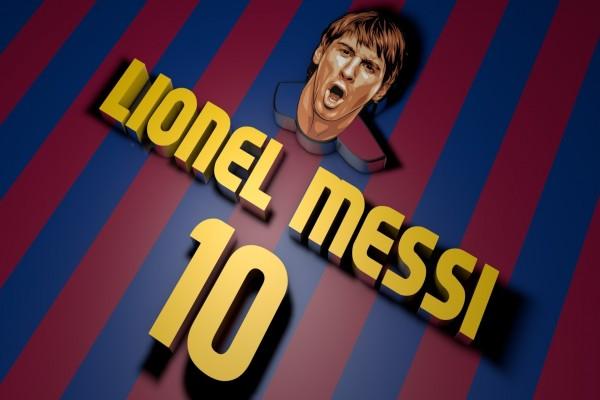 Imagen en 3D de Lionel Messi con los colores del Barcelona