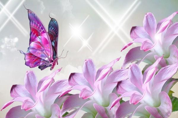 Mariposas volando sobre unas flores