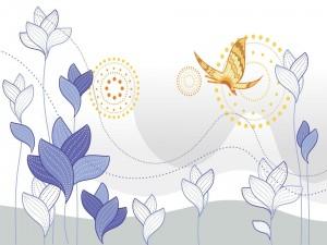 Mariposa sobre unas flores en el campo