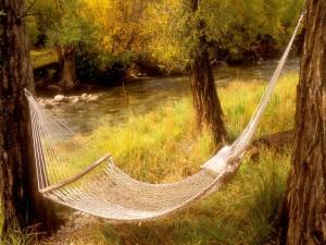 Hamaca junto a un río