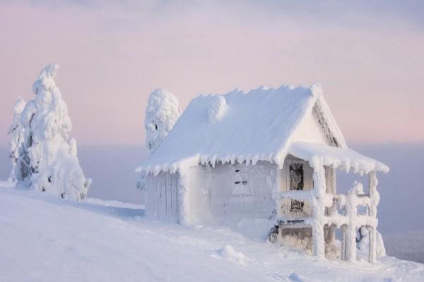 Encantadora casa de campo cubierta de nieve