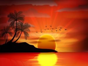 Atardecer en un paraíso tropical
