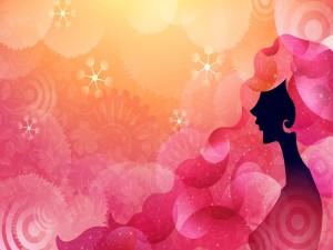 Silueta de mujer con el pelo rosa