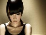 Chica asiática con largas pestañas