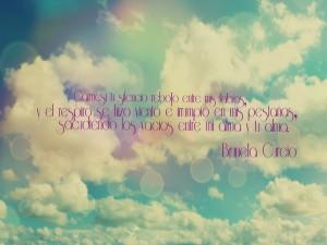 Bonita frase escrita en el cielo