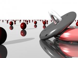 Esferas rojas reflejadas