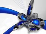 Figura azul en 3D con textura metalizada