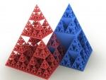 Dos pirámides formadas por pirámides más pequeñas