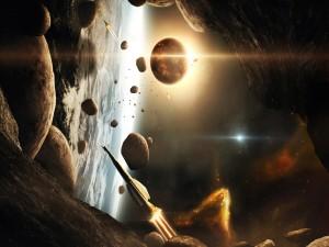 Naves espaciales junto a unos planetas