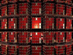 Cubos de color rojo flotando