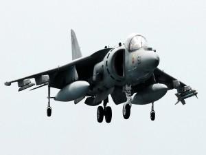McDonnell Douglas AV-8B Harrier II preparado para aterrizar