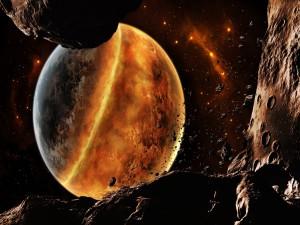 La Tierra pasando peligrosamente por una zona de asteroides