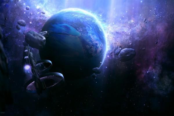 Planeta rodeado de naves espaciales