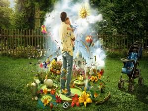 Padre abrazando a su bebé en un jardín de fantasía