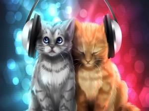 Dos gatos con auriculares