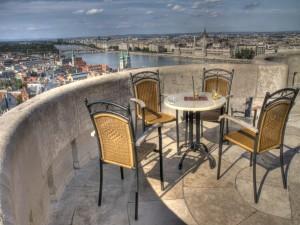 Hermosa vista de Budapest desde una terraza